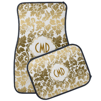 Gold Tones Floral Damasks Over White Background Car Mat