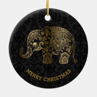 Gold Tones Floral Elephant On Black Damasks Round Ceramic Ornament