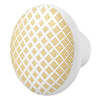 Gold Tones Geometric Shapes Ceramic Knob