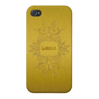 Gold Tones Metallic Design Brushed Aluminum Look Covers For iPhone 4