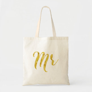 Gold Tones- Mr Modern Typography Tote Bag