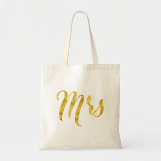 Gold Tones- Mrs Modern Typography Tote Bag