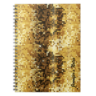 Gold Tones Retro Discoball Glitter Notebooks