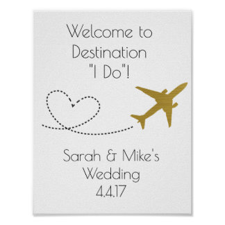 Gold, Travel Themed Decoration-Wedding Sign Poster
