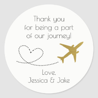 Gold, Travel Themed Thank You Stickers- Favours Classic Round Sticker