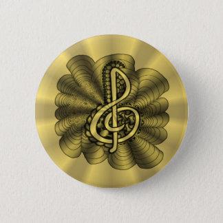 Gold Treble Clef Music Design 2 Inch Round Button
