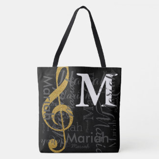 gold treble clef music note monogram with name tote bag