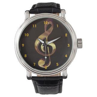 Gold Treble Clef Music Watch