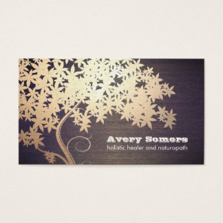 Gold Tree Holistic Healer Naturopath Wood Look Business Card