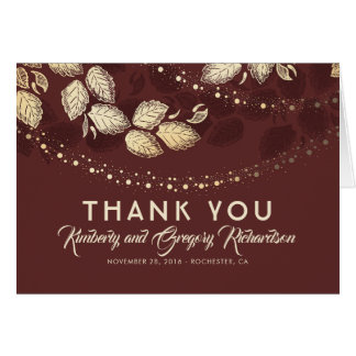 Gold Tree Leaves and Lights Wedding Thank You Card