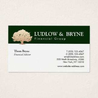 Gold Tree Logo Traditional Professional Dark Green Business Card