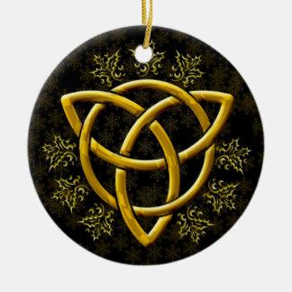 Gold Tri-Quatra Field of Golden Snowflakes & Holly Ceramic Ornament