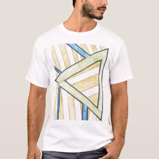 Gold Triangle Blocks Motif T-Shirt