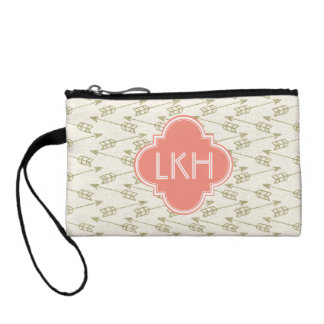 Gold Tribal Arrows Pattern   Coral Monogram Coin Purse