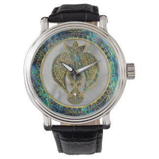 Gold Tribal Bird on  Abalone Watch