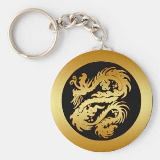 GOLD TRIBAL DRAGON BASIC ROUND BUTTON KEYCHAIN