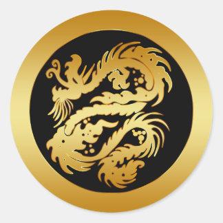 GOLD TRIBAL DRAGON ROUND STICKER