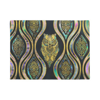 Gold Tribal Owl on Boho Abalone Pattern Doormat