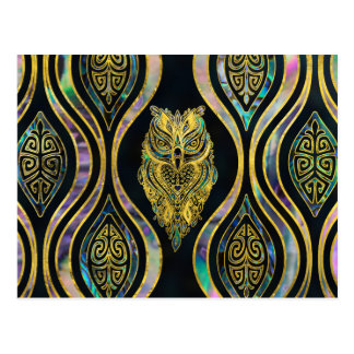 Gold Tribal Owl on Boho Abalone Pattern Postcard