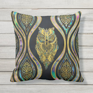Gold Tribal Owl on Boho Abalone Pattern Throw Pillow
