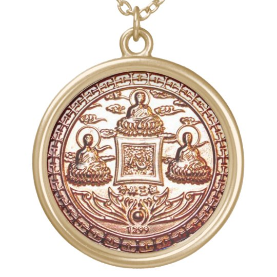 Gold Trikaya Buddha Miracle Talisman Gold Plated Necklace