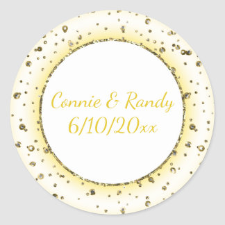 Gold Trim Wedding Monogram Sticker