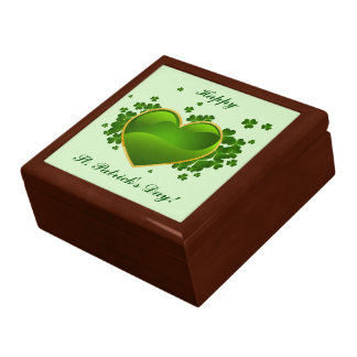 Gold-Trimmed Green Heart with Shamrocks Gift Box