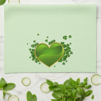 Gold-Trimmed Green Heart with Shamrocks Kitchen Towel