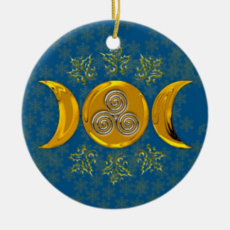 Gold Triple Moon, Holly & Silver Triple Spiral Round Ceramic Ornament