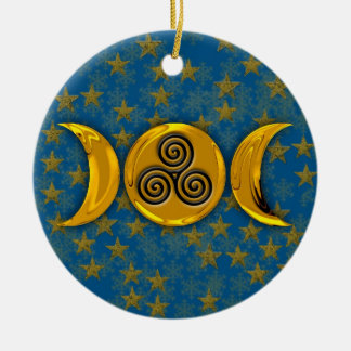 Gold Triple Moon Stars Snowflakes & Triple Spiral Round Ceramic Ornament