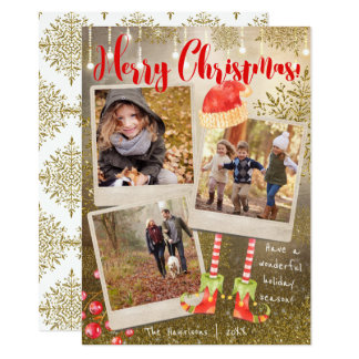 Gold Triple Photo Collage Christmas Holiday Card