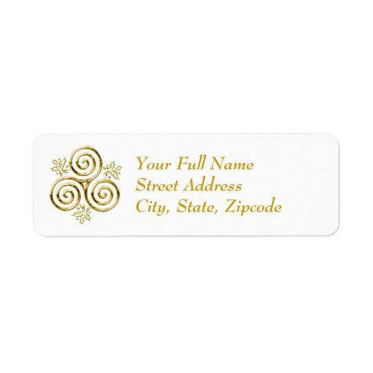 Gold Triple Spiral & Holly Leaves - Return Label