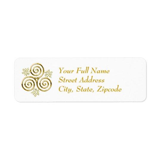 Gold Triple Spiral & Holly Leaves - Return Label Return Address Label