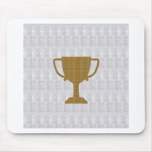 GOLD Trophy Crystal White Background NVN287 Winner Mousepad