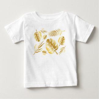 Gold tropical leaves elegant modern pattern design baby T-Shirt