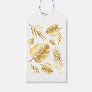 Gold tropical leaves elegant modern pattern design gift tags