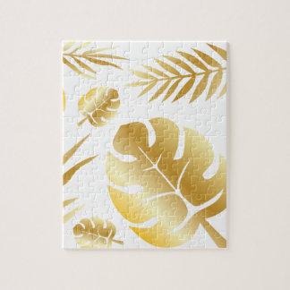 Gold tropical leaves elegant modern pattern design jigsaw puzzle