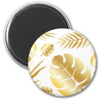 Gold tropical leaves elegant modern pattern design magnet