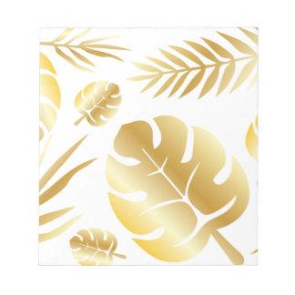 Gold tropical leaves elegant modern pattern design notepad