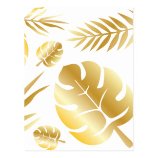 Gold tropical leaves elegant modern pattern design postcard