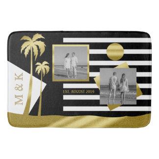 Gold Tropical Palm Trees Beach Instagram Photos Bath Mat
