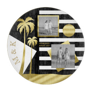 Gold Tropical Palm Trees Beach Instagram Photos Cutting Board
