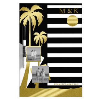 Gold Tropical Palm Trees Beach Instagram Photos Dry Erase Board