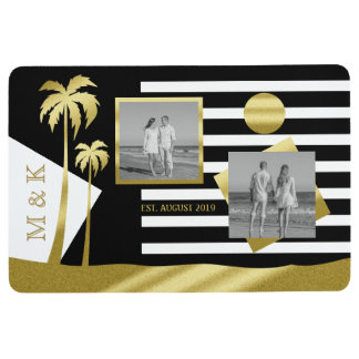 Gold Tropical Palm Trees Beach Instagram Photos Floor Mat