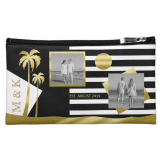 Gold Tropical Palm Trees Beach Instagram Photos Makeup Bags