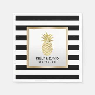 Gold Tropical Pineapple Modern Stripes Wedding Disposable Napkin