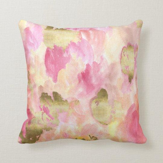 Gold Tulips Throw Pillow