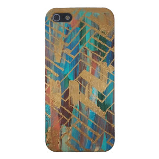 Gold Turquoise abstract iphone se iPhone 5 Cases