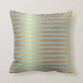 Gold Turquoise Aquamarine Stripes Metallic Royal Throw Pillow