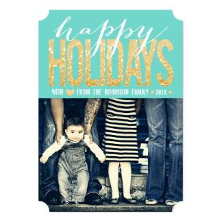 "Gold Turquoise Happy Holidays Photo Flat Card 5"" X 7"" Invitation Card"